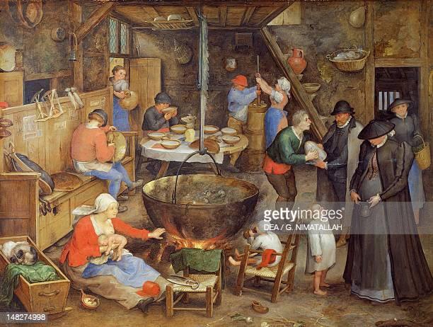 The visit to the farm by Jan Brueghel the Elder Velvet Bruegel copper 27x36 cm Vienna Kunsthistorisches Museum