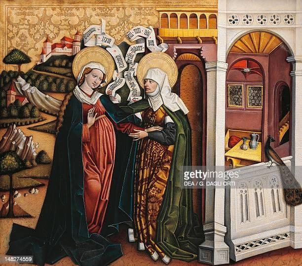 The Visitation of Mary to St Elizabeth of Thuringia Hungarian painting. ; Budapest, Magyar Nemzeti Galeria .