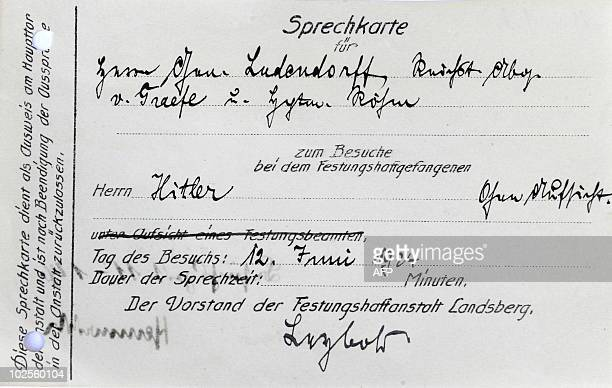 The visitor card supposed to be of of General Ludendorff and later SA leader Ernst Roehm dated June 12 who visited Adolf Hitler in the prison...
