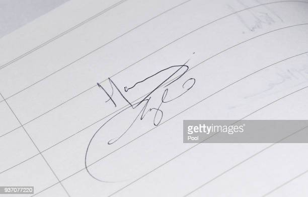 The visitors book signed by Prince Harry and Meghan Markle during a visit to Titanic Belfast maritime museum on March 23 2018 in Belfast Nothern...
