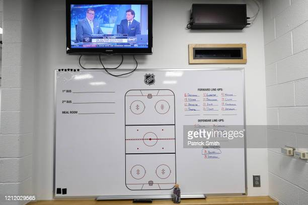 The visitors lockerroom is empty after the Detroit Red Wings against the Washington Capitals game was postponed due to the coronavirus at Capital One...
