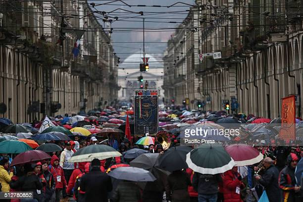 The visitors throng the street during the celebration of 10th year anniversary of the XX Turin Winter Olympic Games