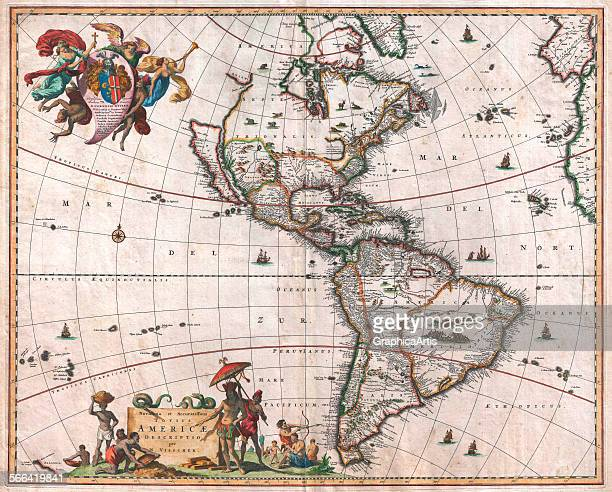 The 'Visscher Map of the New World' including North and South America handcolored engraving 1658 Original title 'Novissima et Accuratissima Totius...
