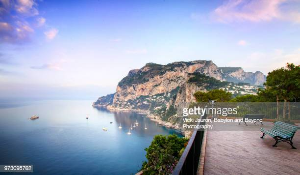 the vista from the belvedere of tragara on capri island - capri stock pictures, royalty-free photos & images