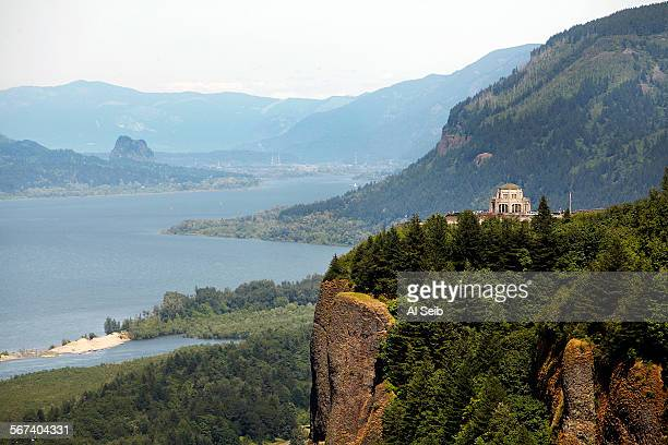 PORTLAND OR JUNE 04 2014 The Vista House right sits atop a vantage point 733 feet above the Columbia River and overlooks one of Oregon's most...