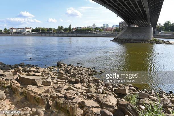 The Vistula river in Warsaw has its lowest water level for years on July 25 caused by drought. - Hundreds of rivers and in Poland are drying up...