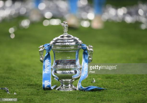 The Vitality Women's FA Cup Trophy is seen on the pitch following the Vitality Women's FA Cup Final match between Everton Women and Manchester City...