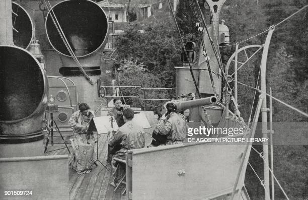 The Vittoriale Quartet a string ensemble plays on the prow of the ship named Puglia set within the private garden of the poet Gabriele D'Annunzio...