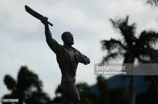 The Vivian Richards statue photographed before a training sesssion at the Sir Vivian Richards Stadium on February 4, 2019 in St John's, Antigua.