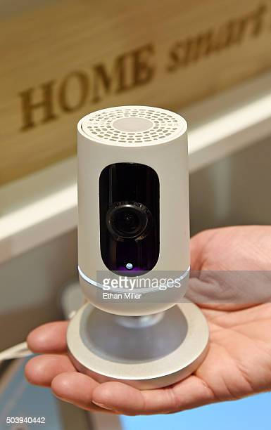 The Vivint Ping Camera is displayed at CES 2016 at the Sands Expo and Convention Center on January 7 2016 in Las Vegas Nevada The Ping part of the...