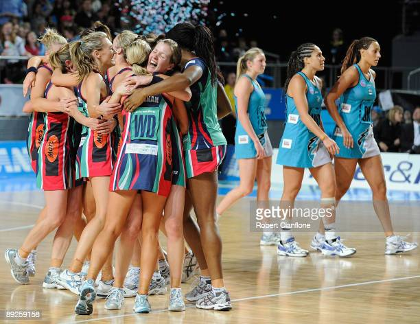 The Vixens celebrate after the ANZ Championship Grand Final between the Melbourne Vixens and the Adelaide Thunderbirds at Hisense Arena on July 26...