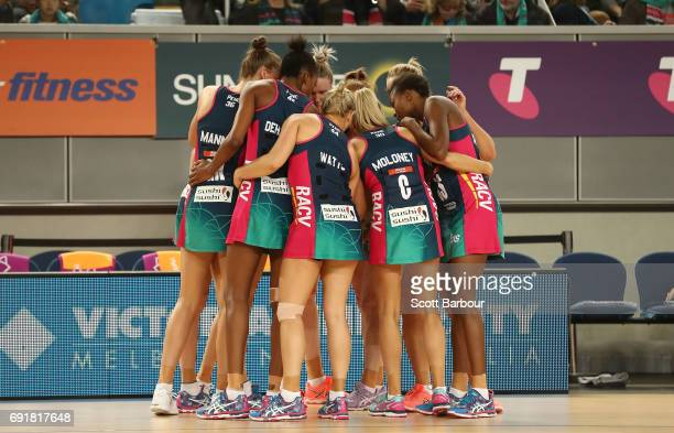 The Vixens form a huddle during the Super Netball Major Semi Final match between the Vixens and the Lightning at Margaret Court Arena on June 3 2017...