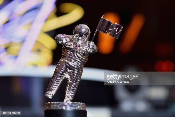 The VMA throphy known as 'Moon Person' is seen during the 2018 MTV Video Music Awards press junket at Radio City Music Hall in New York on August 17...