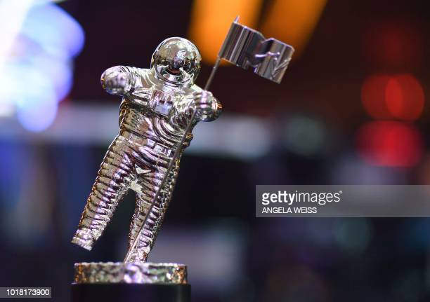The VMA trophy known as Moon Person is seen during the 2018 VMAs press junket at radio City Music Hall in New York on August 17 2018 The 2018 VMAs...