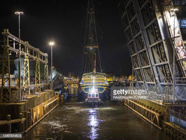 The VOC ship Amsterdam sails across the IJ in Amsterdam to a temporary berth, from where it will return to the museum jetty at the Scheepvaartmuseum...