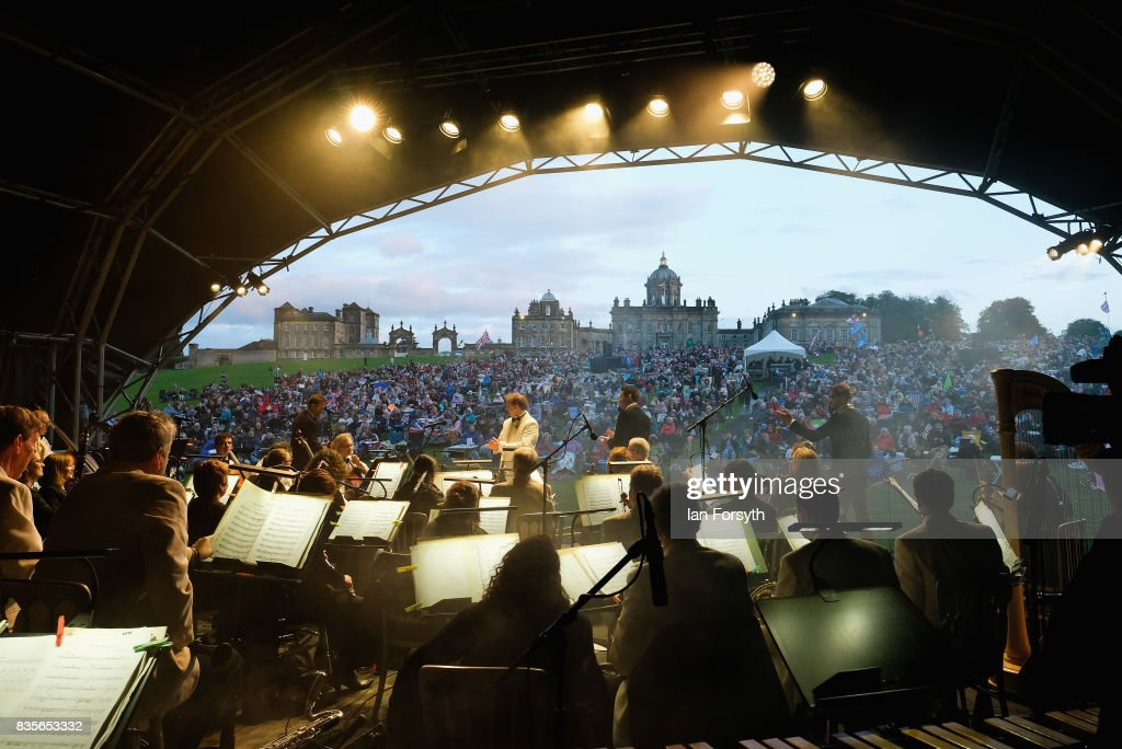 The vocal group Blake perform during the annual Castle Howard Proms Spectacular concert held on the grounds of the Castle Howard estate on August 19, 2017 in York, England. The outdoor picnic concert celebrated the best of British with a rousing medley of traditional orchestral anthems from the London Gala Orchestra conducted by Stephen Ellery and special guest performances from Brit award winners Blake and soprano Joanne Forest.