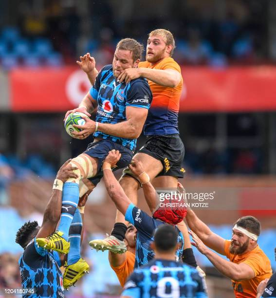 The Vodacom Bulls' Andries Ferreira and The Visa Jaguares' Francisco Gorrissen jump for the ball during the Super rugby match Vodacom Bulls v Visa...