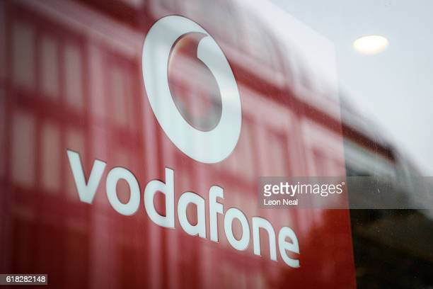The Vodafone logo is seen on a store front on October 26, 2016 in London, England. Regulator Ofcom has fined Vodafone, who have 20 million mobile...