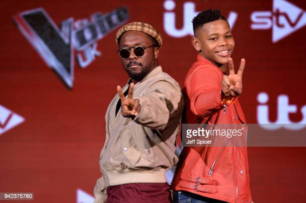 The Voice Judge william and finalist Donel Mangena attend the prefinal event for 'The Voice' at Elstree Studios on April 5 2018 in Borehamwood England