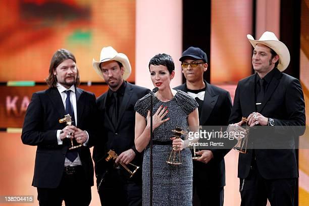 'The Voice Of Germany' jury members Rea Garvey Sascha 'Hoss' Vollmer Nena Xavier Naidoo and Alec 'Boss' Voelkel receive the Goldene Kamera Best...