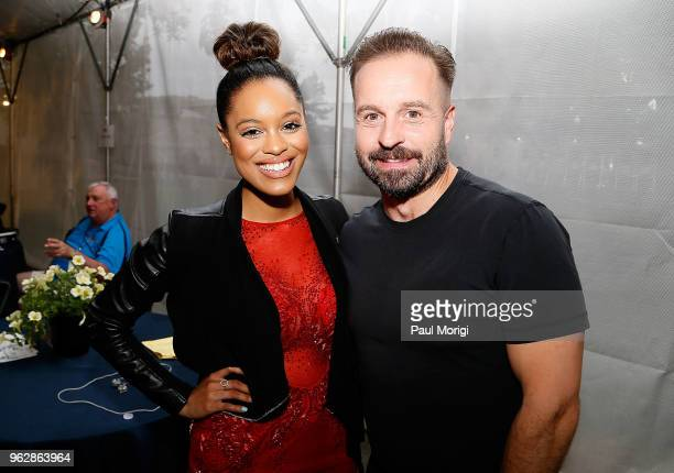 The Voice Season 14 finalist Spensha Baker and Tenor Alfie Boe attend the 2018 National Memorial Day Concert Rehearsals at US Capitol West Lawn on...