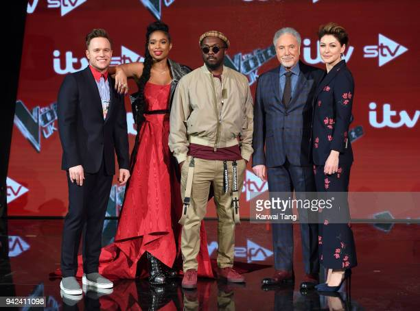 The Voice UK Judges Olly Murs Jennifer Hudson Tom Jones william and presenter Emma Willis attend the prefinal event for 'The Voice' at Elstree...