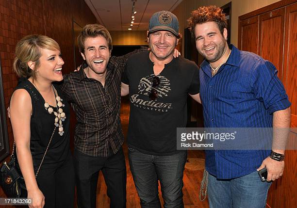The Voice's Amber Carrington Colton Swon and Zack Swon of The Swon Brothers Join Singer/SongwriterJerrod Niemann backstage during ACM Lifting Lives...