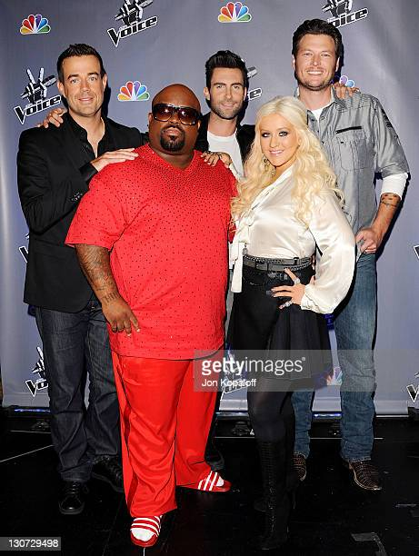 The Voice's Carson Daly CeeLoAdam Levine Christina Aguilera and Blake Shelton pose at NBC's 'The Voice' Press Junket at Sony Pictures Studios on...