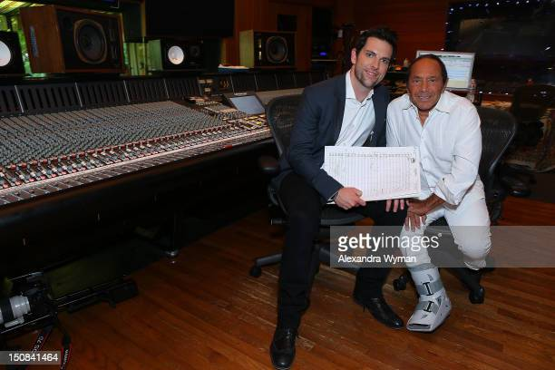 The Voice's Chris Mann and Legendary Crooner Paul Anka Photo Call held at Conway Recording Studios on August 27 2012 in Los Angeles California