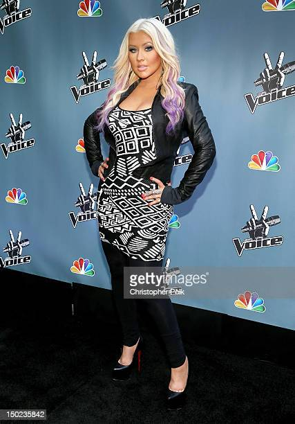 The Voice's Christina Aguilera attends the NBCUniversal's 'The Voice' Press Junket and cocktail reception on August 12 2012 in Los Angeles California