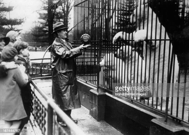 The voices of polar bears are taken for the radio. Bronx Zoo in New York. About 1935. Photograph. Die Stimmen von Eisbären werden für das Radio...