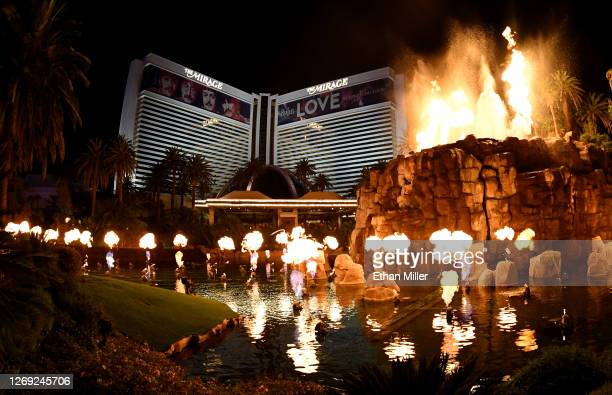 The volcano attraction in front of The Mirage Hotel & Casino erupts after the Las Vegas Strip resort reopened for the first time since mid-March...