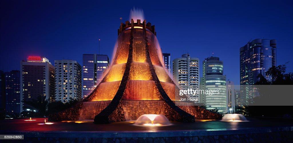 The Volcano Fountain at Night : Stock Photo