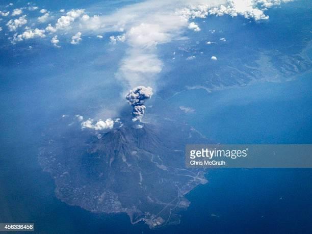 The volcano on Mt Sakurajima erupts September 29 2014 in the air over Mt Sakurajima Japan T