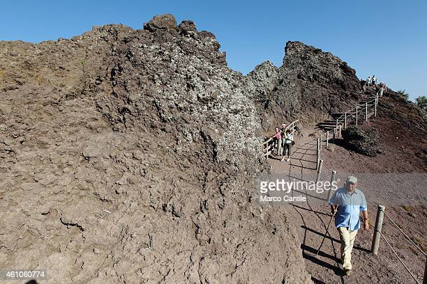 The volcano Vesuvius near Naples One of the most dangerous in the world Here the view of the crater and volcanic rocks that can be seen along the way