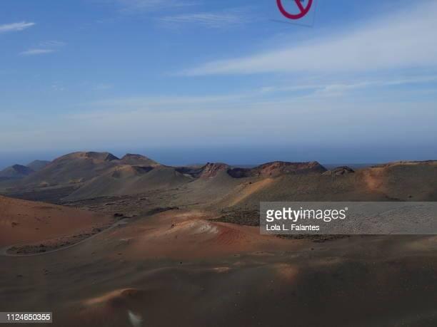 The volcanos route, seven volcano cones. Timanfaya