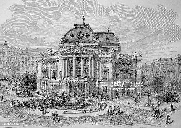 The Volkstheater in Vienna was founded in 1889 by request of the citizens of Vienna Austria illustration woodcut from 1880