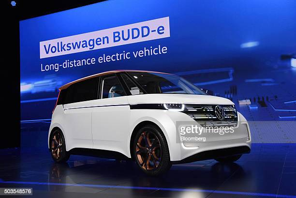 The Volkswagen AG BUDDe concept longdistance electric vehicle sits on display during an unveiling event at the 2016 Consumer Electronics Show in Las...