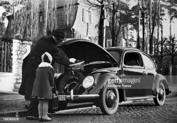 The Volkswagen Beetle produced by the German automaker Volkswagen photographing in Germany during the end of the forties