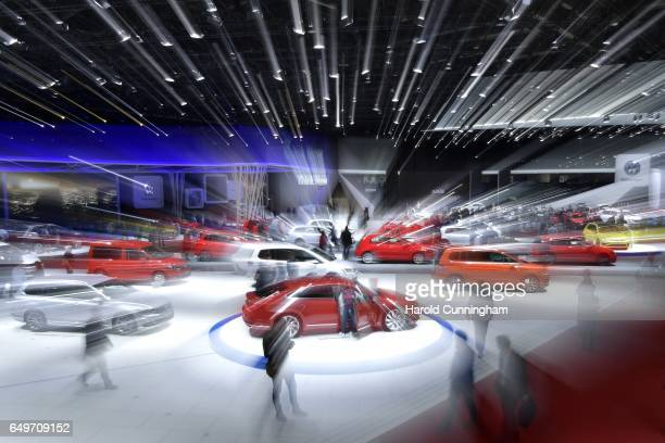 The Volkswagen booth is seen during the 87th Geneva International Motor Show on March 8 2017 in Geneva Switzerland The International Motor Show...