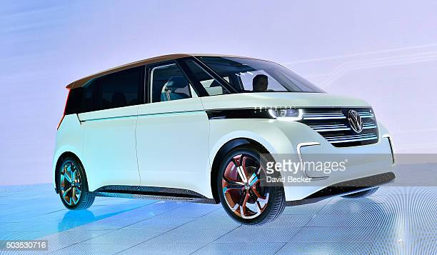 The Volkswagen BUDDe a long distance electric vehicle is displayed during a press event at CES 2016 at The Chelsea at The Cosmopolitan of Las Vegas...