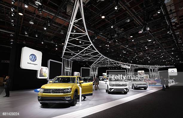 The Volkswagen exhibit is shown at the 2017 North American International Auto Show on January 10 2017 in Detroit Michigan Approximately 5000...