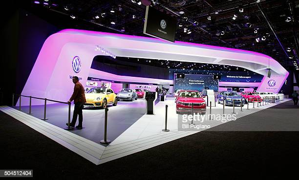 The Volkswagen exhibit is shown on the first day of media preview days at the 2016 North American International Auto Show on January 11 2016 in...
