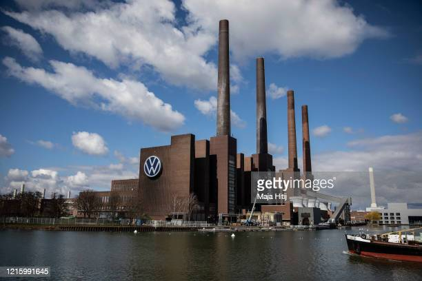 The Volkswagen factory stands following a temporary halt to car production there on March 31, 2020 in Wolfsburg, Germany. Volkswagen extended the...
