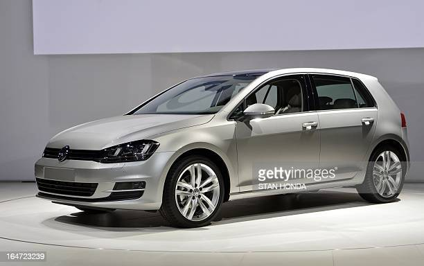 The Volkswagen Golf is unveiled during the first press preview day at the New York International Auto Show March 27, 2013 in New York. AFP PHOTO/Stan...