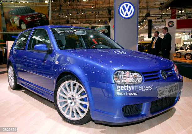 The Volkswagen Golf R32 on display during the Sydney International Motorshow at the Sydney Exhibition Centre October 16 2003 in Sydney Australia The...