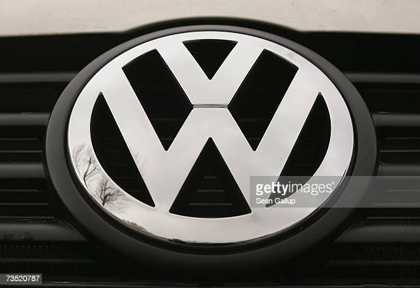 The Volkswagen logo fixed on a light truck at a VW and MAN truck dealership a day ahead of VW's scheduled release of its financial results for 2006...
