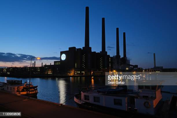 The Volkswagen logo hangs from a power station at the Volkswagen factory on March 05, 2019 in Wolfsburg, Germany. Volkswagen is scheduled to hold its...