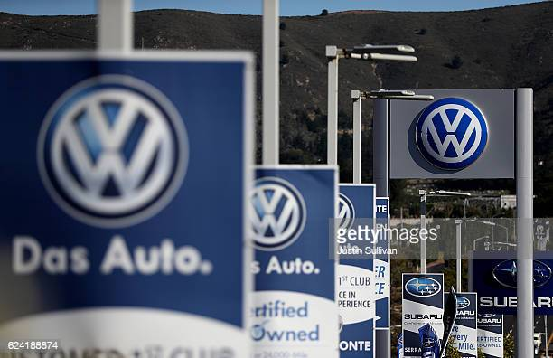 The Volkswagen logo is displayed at Serramonte Volkswagen on November 18, 2016 in Colma, California. Volkswagen announced plans to lay off 30,000...