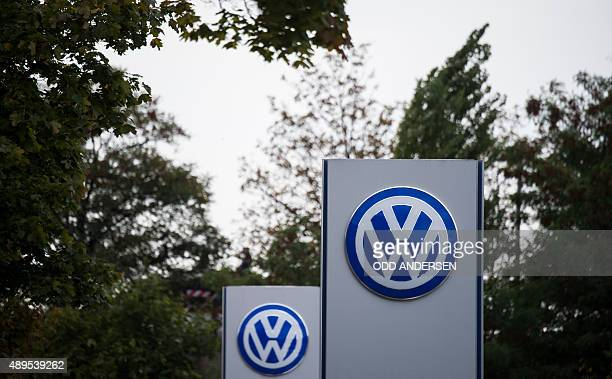 The Volkswagen logo is seen at a Volkswagen dealer in Berlin on September 22 2015 In an affair that originally broke on Friday and has unfolded...